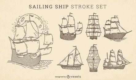 Conjunto de trazos de barcos de vela