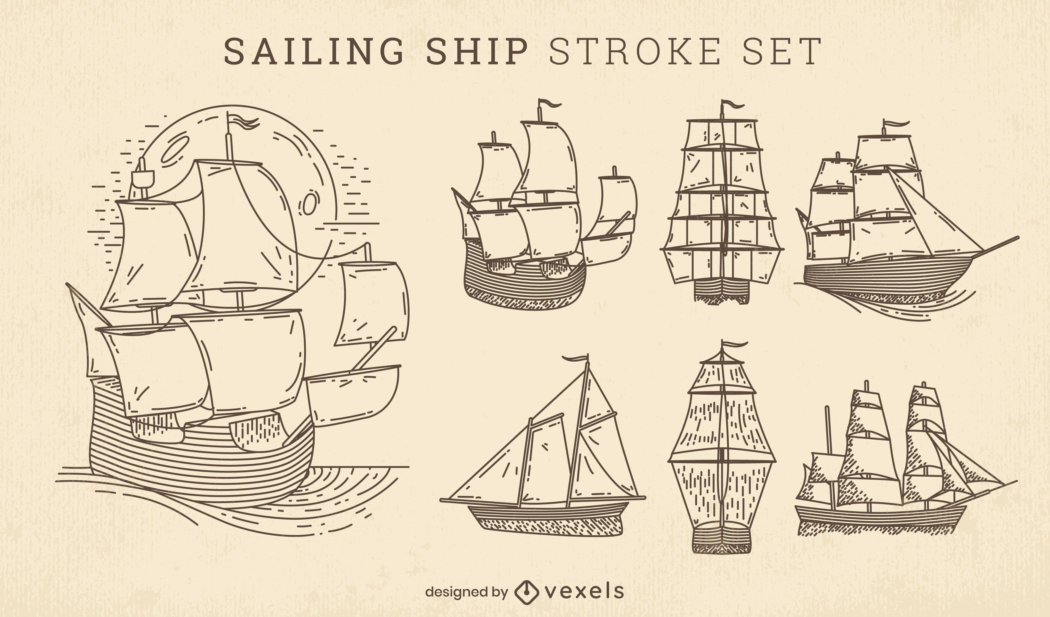 Conjunto de tacadas de veleiros