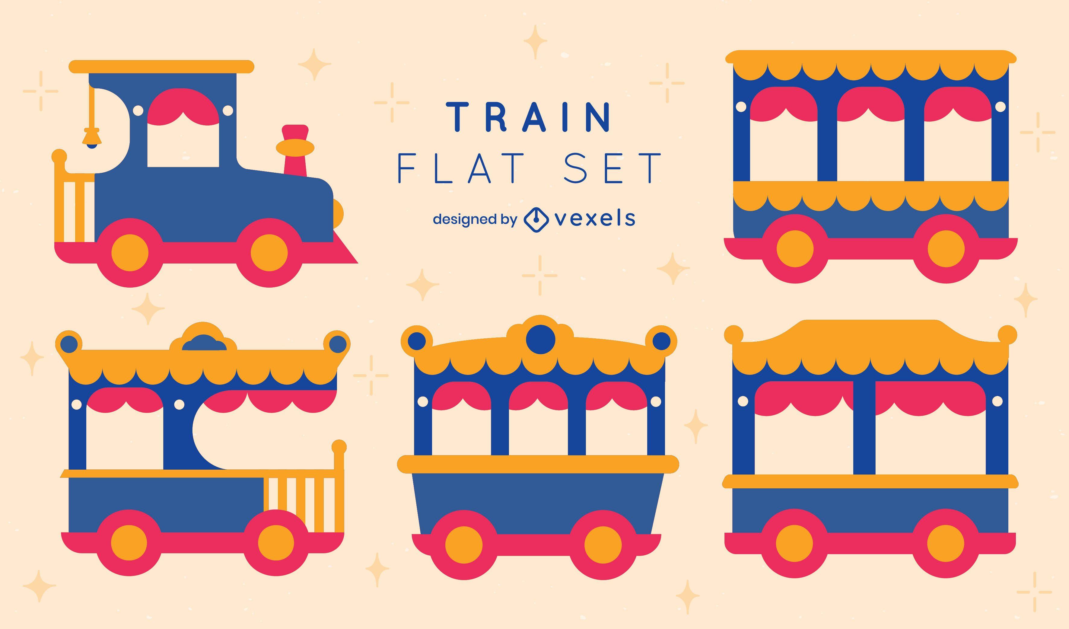 Colorido conjunto plano de trenes laterales.