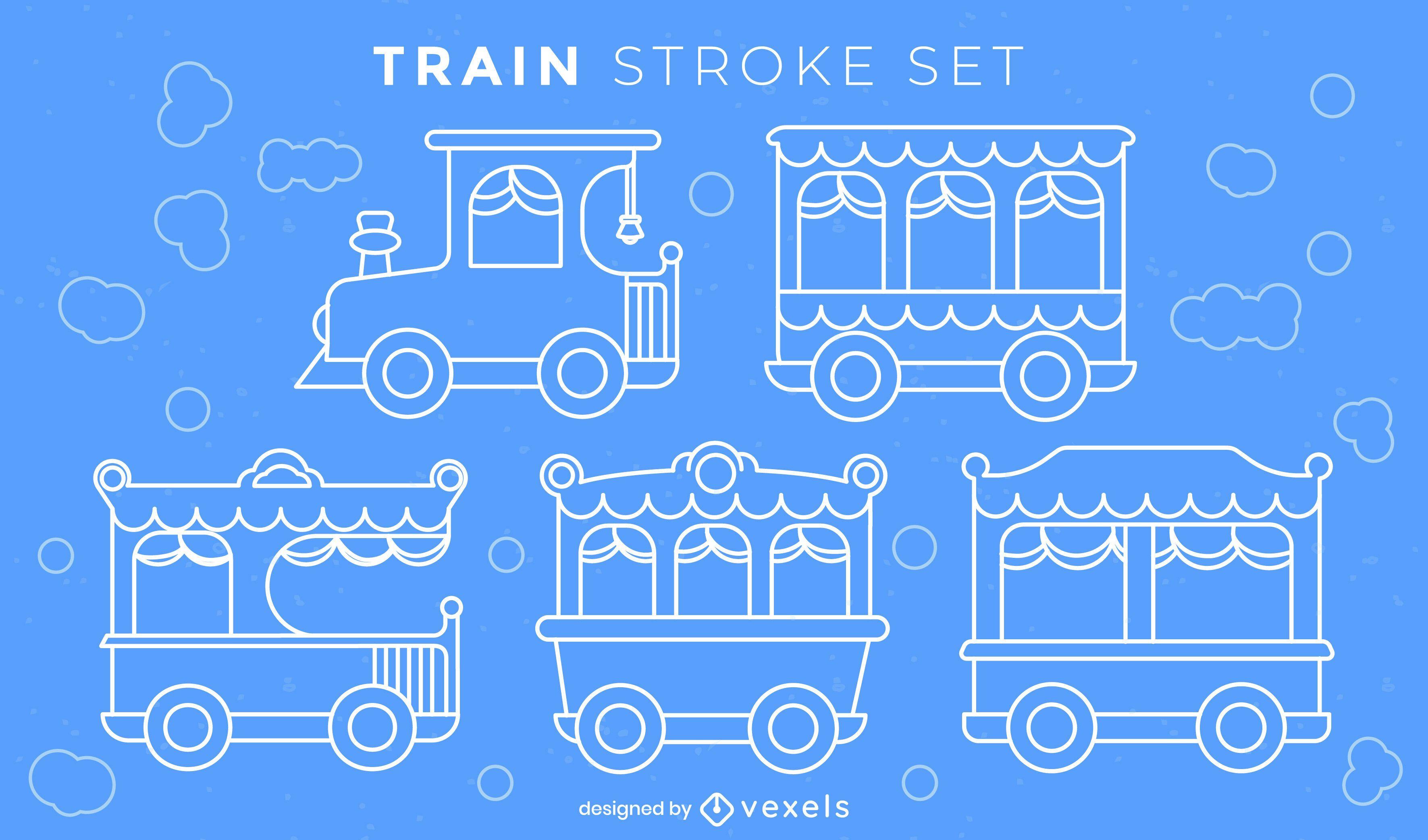 Conjunto de trazos de trenes laterales