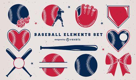 Conjunto de duotono de elementos de béisbol
