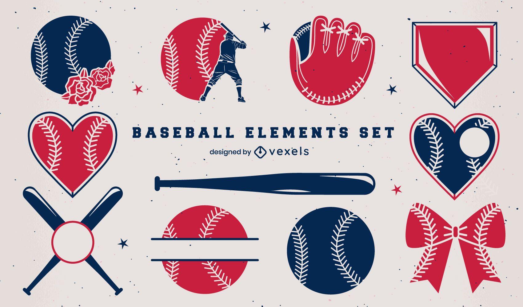 Baseball elements duotone set