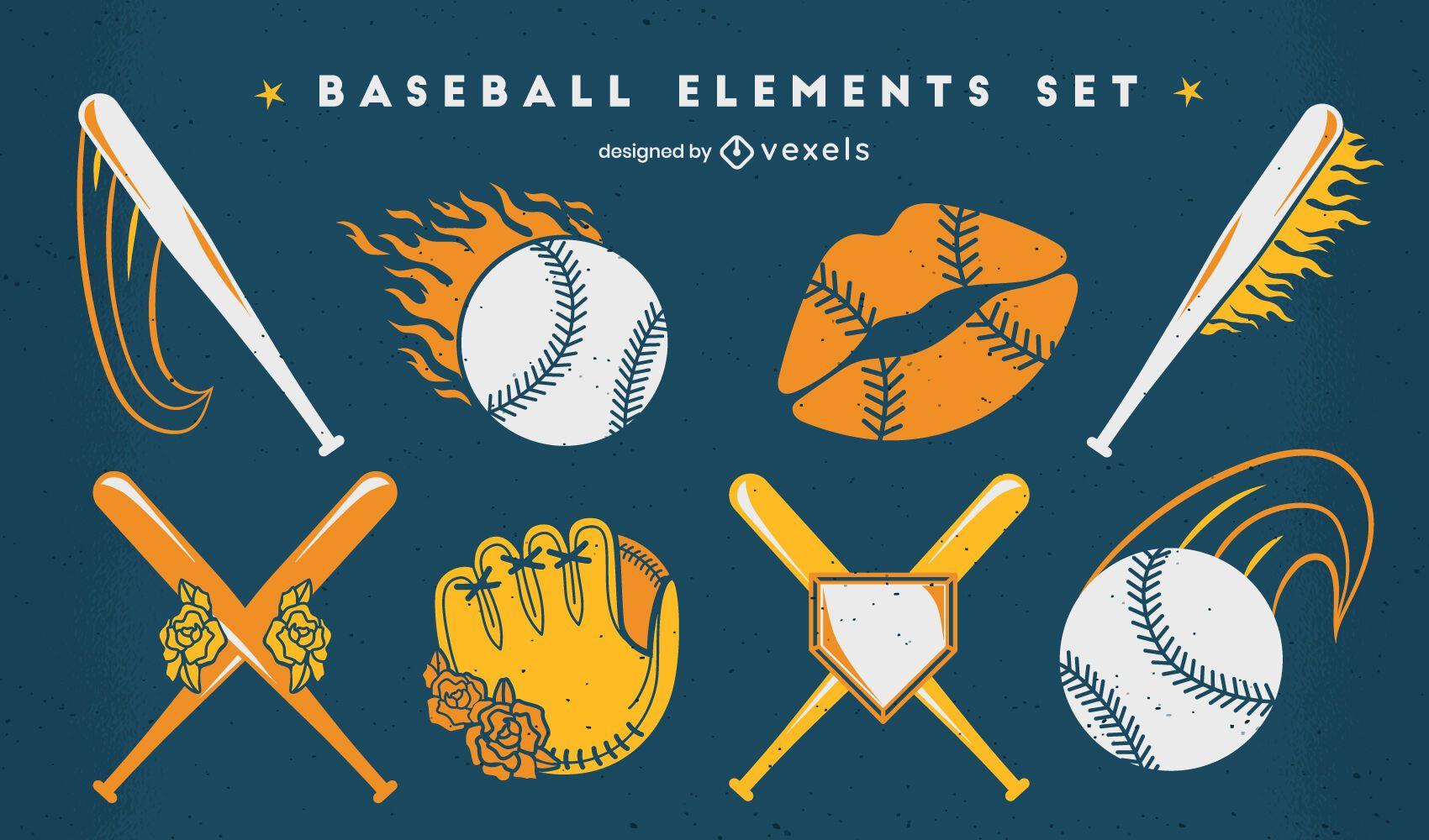 Conjunto de elementos vintage de beisebol