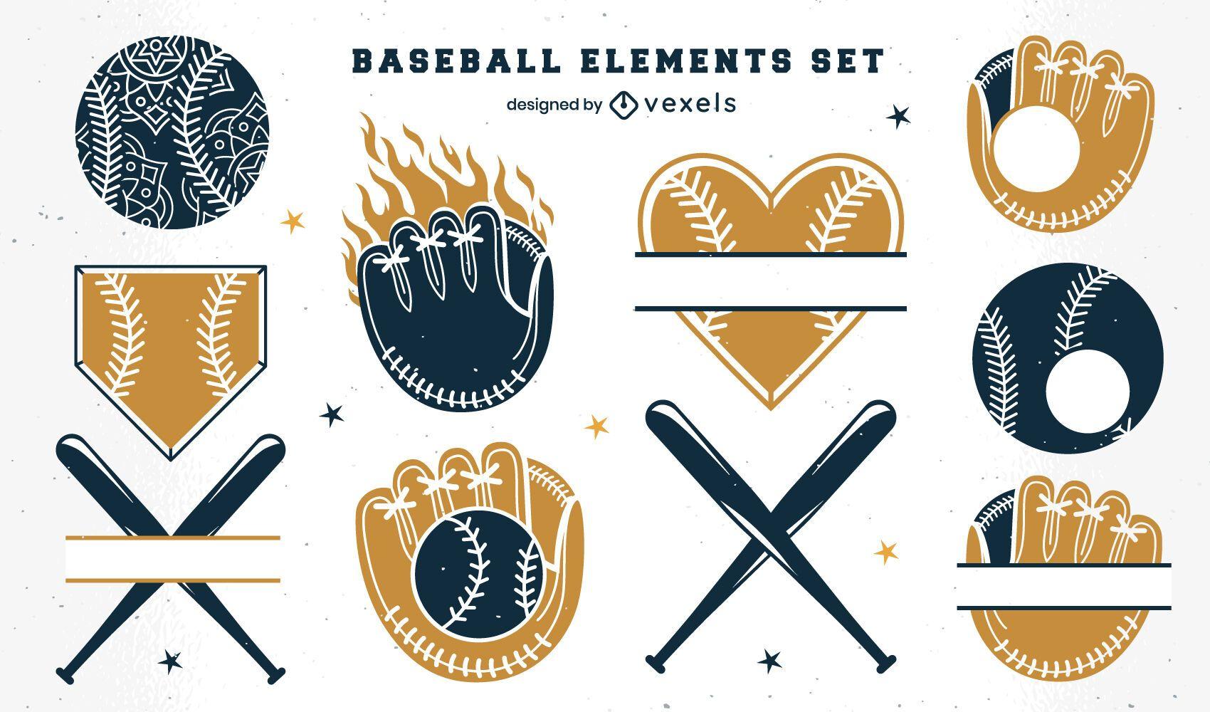 Baseball-Abzeichen-Elemente