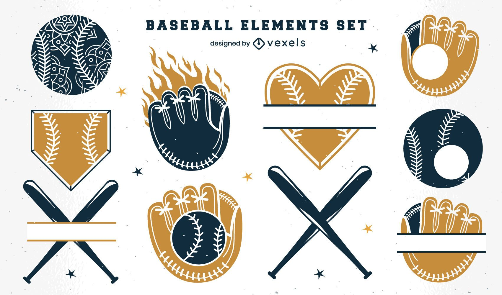 Baseball badge elements