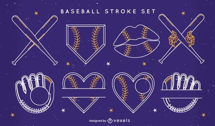 Baseball stroke badge elements