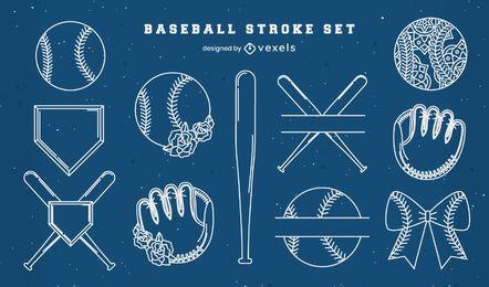 Stroke baseball elements set