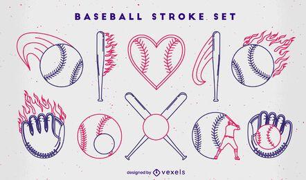 Conjunto de elementos de trazo de béisbol