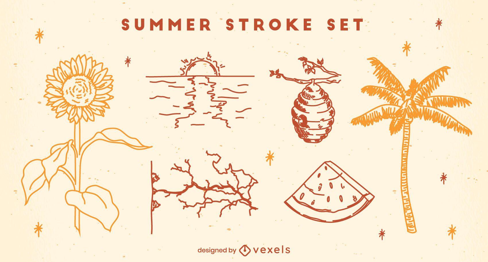 Conjunto de braçadas de verão e natureza