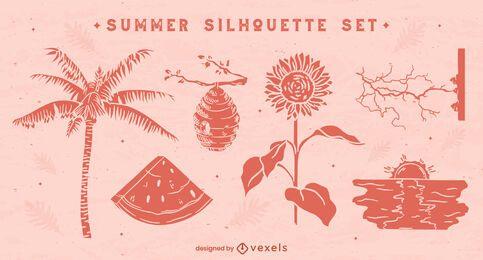 Natürliche Sommer-Silhouetten-Set
