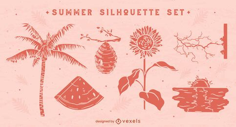 Natural summer silhouettes set