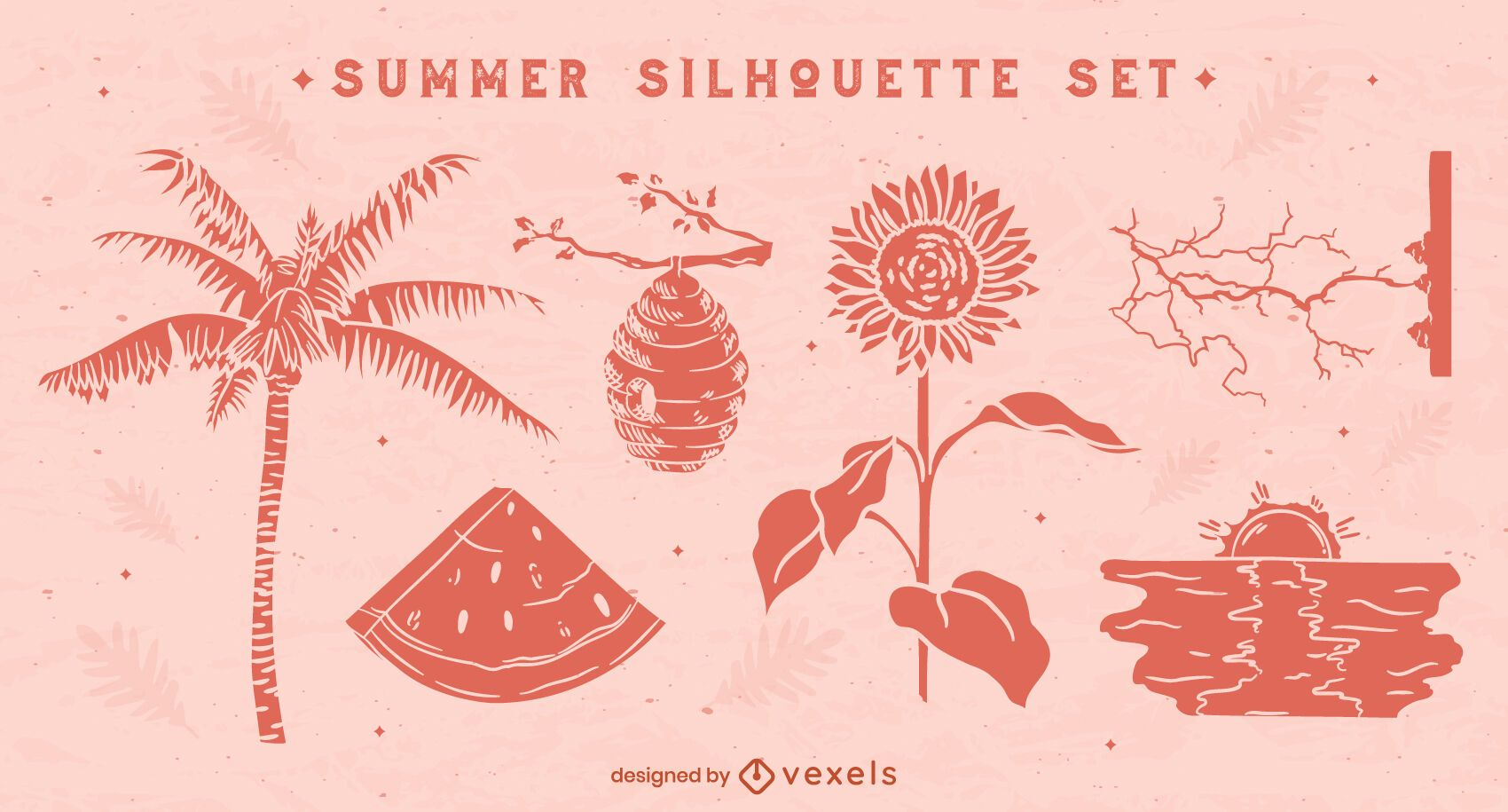 Conjunto de silhuetas naturais de verão