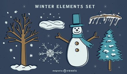 Winter set of flat colored elements