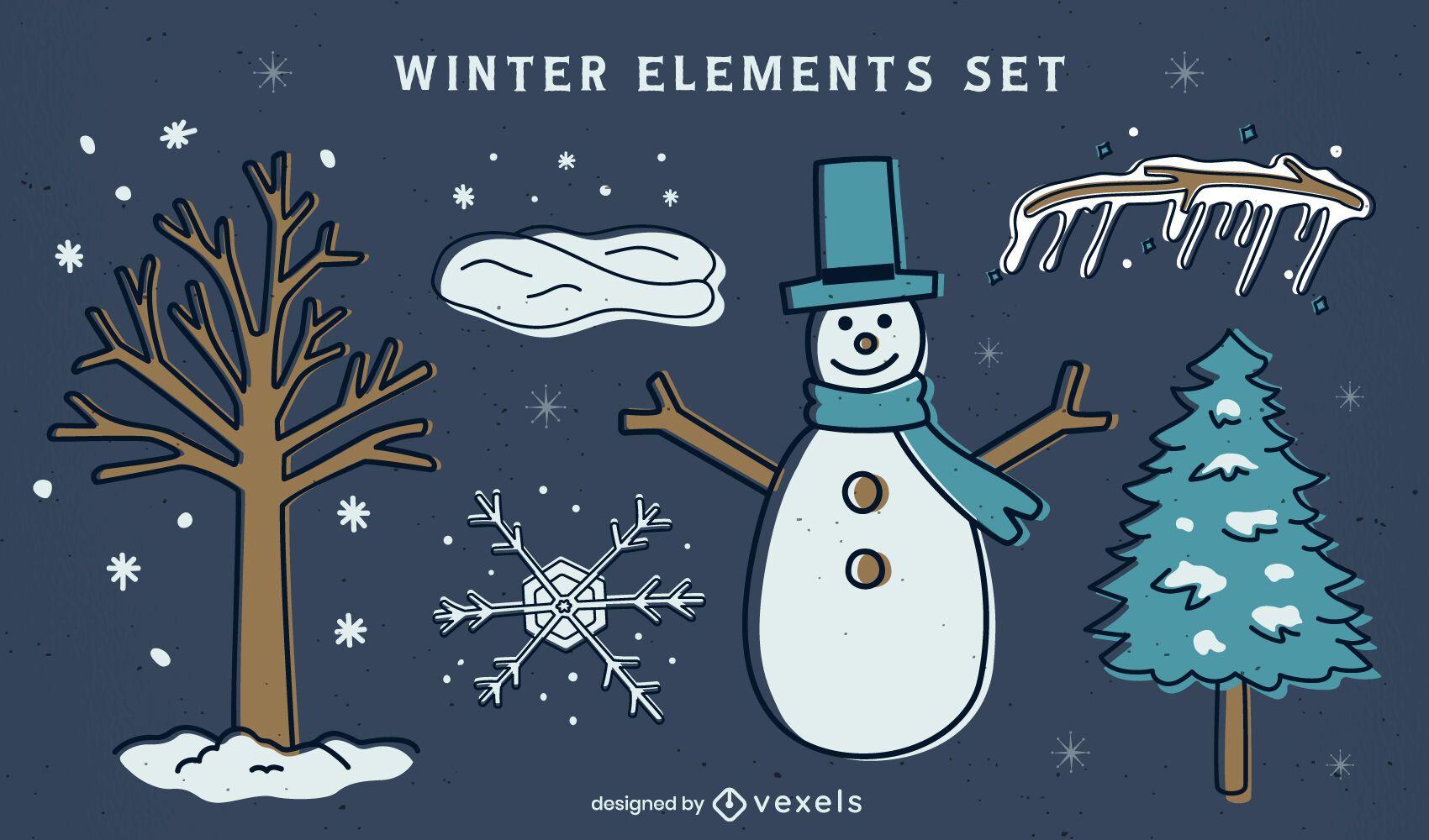 Conjunto de invierno de elementos de colores planos.