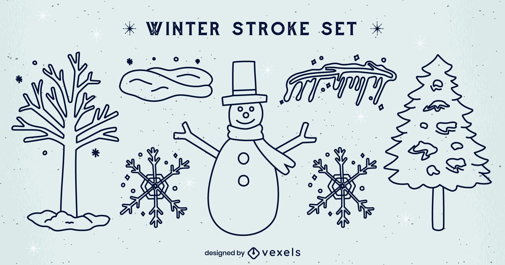 Winter set of stroke elements