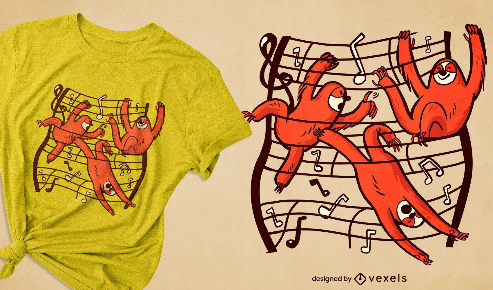 Design de t-shirt de notas musicais de animais-preguiça