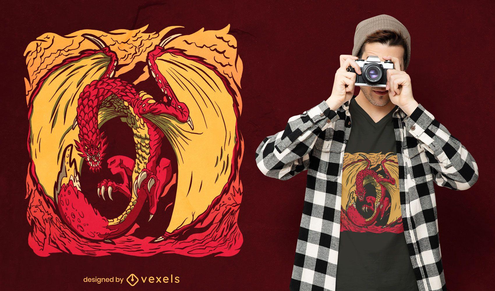 Design de camiseta voadora de criatura Wyvern