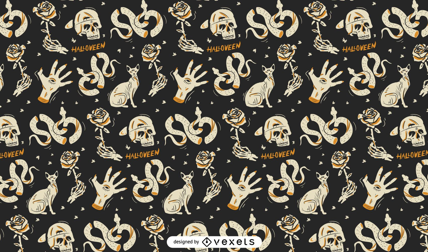 Halloween holiday scary elements pattern design