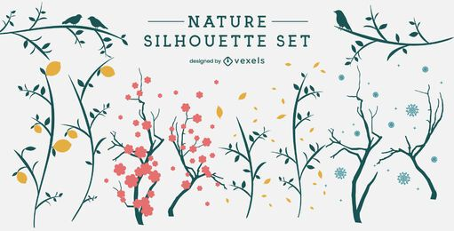 Simple branches and leaves silhouette set