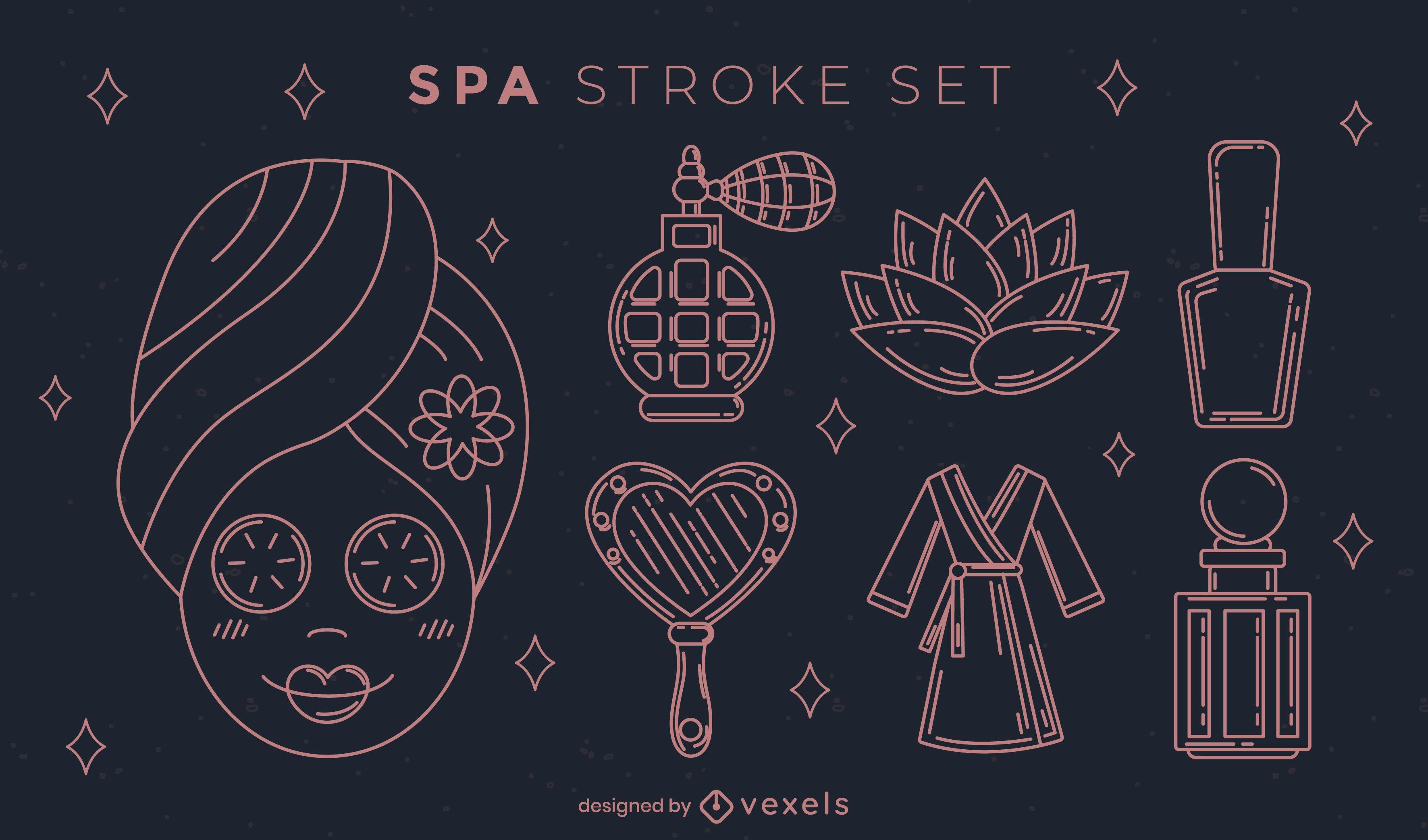 Set of stroke spa elements
