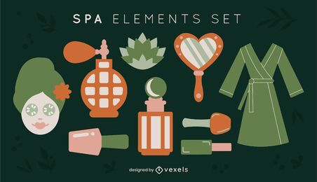 Flat spa elements set
