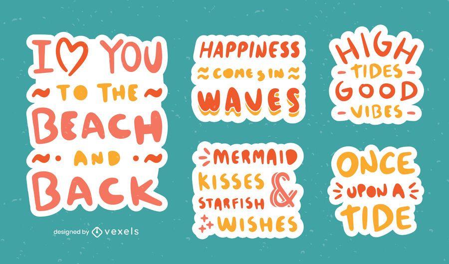 Beach quote stickers set
