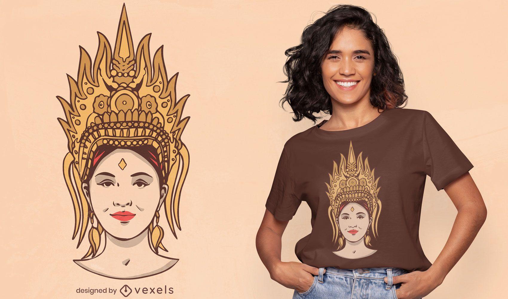 Design de t-shirt da mitologia da mulher Apsara
