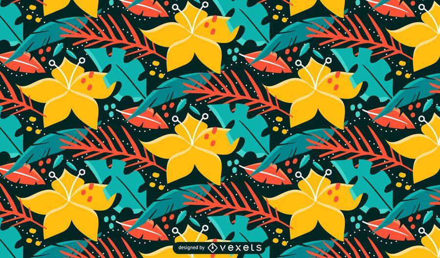 Tropische Pflanzen und Blumen Naturmuster