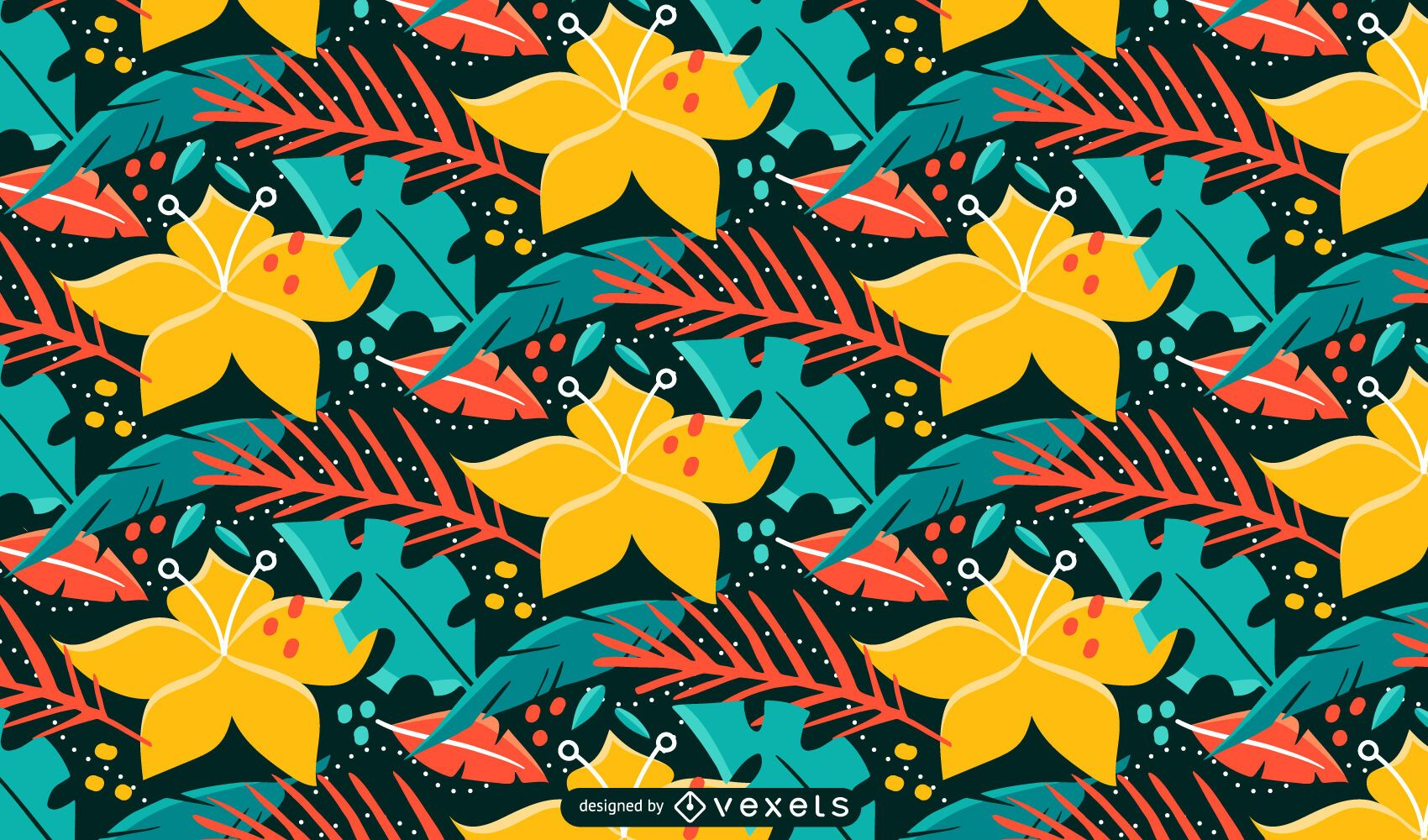 Tropical plants and flowers nature pattern