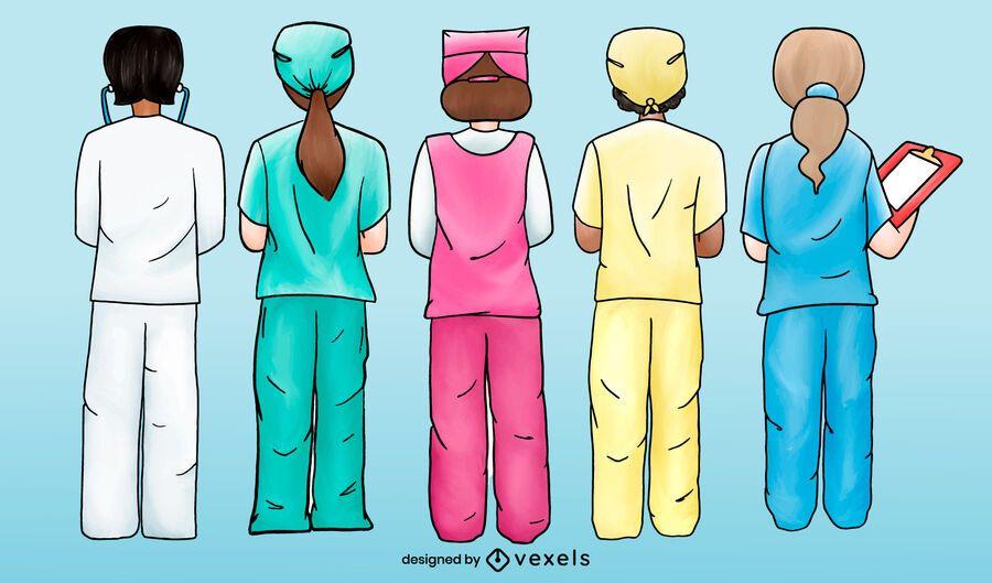 Nurses working backwards watercolor set