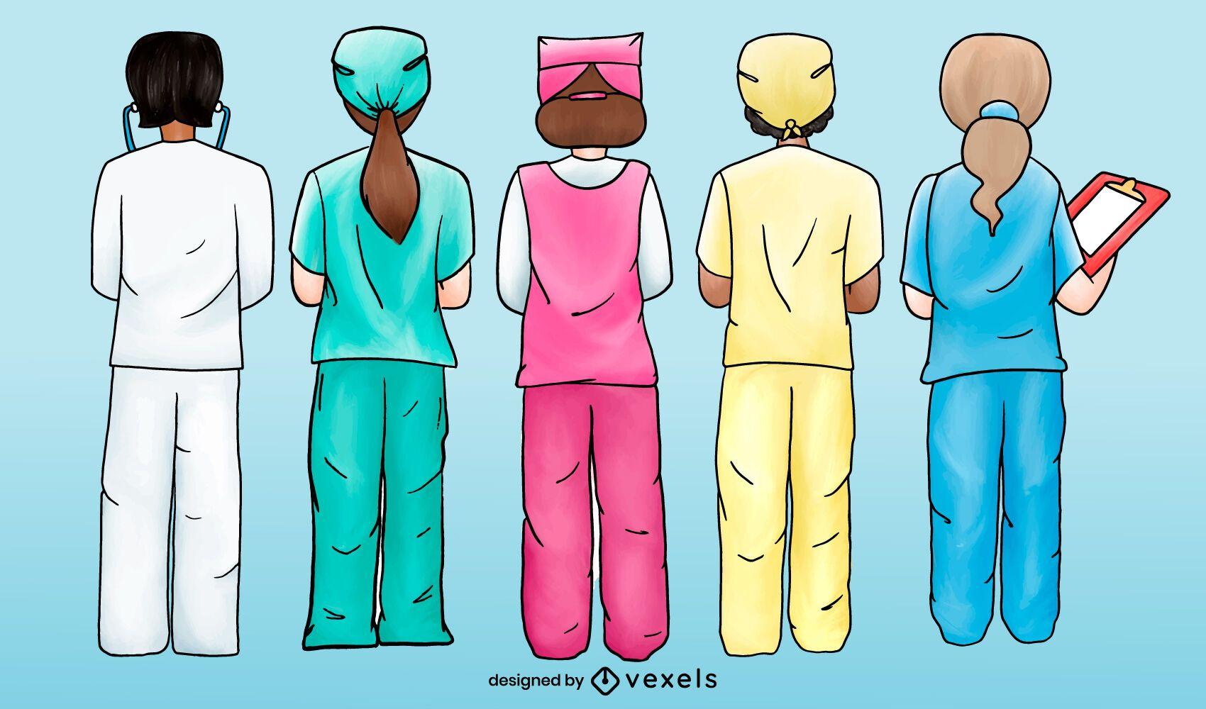 Enfermeras trabajando al revés conjunto de acuarela