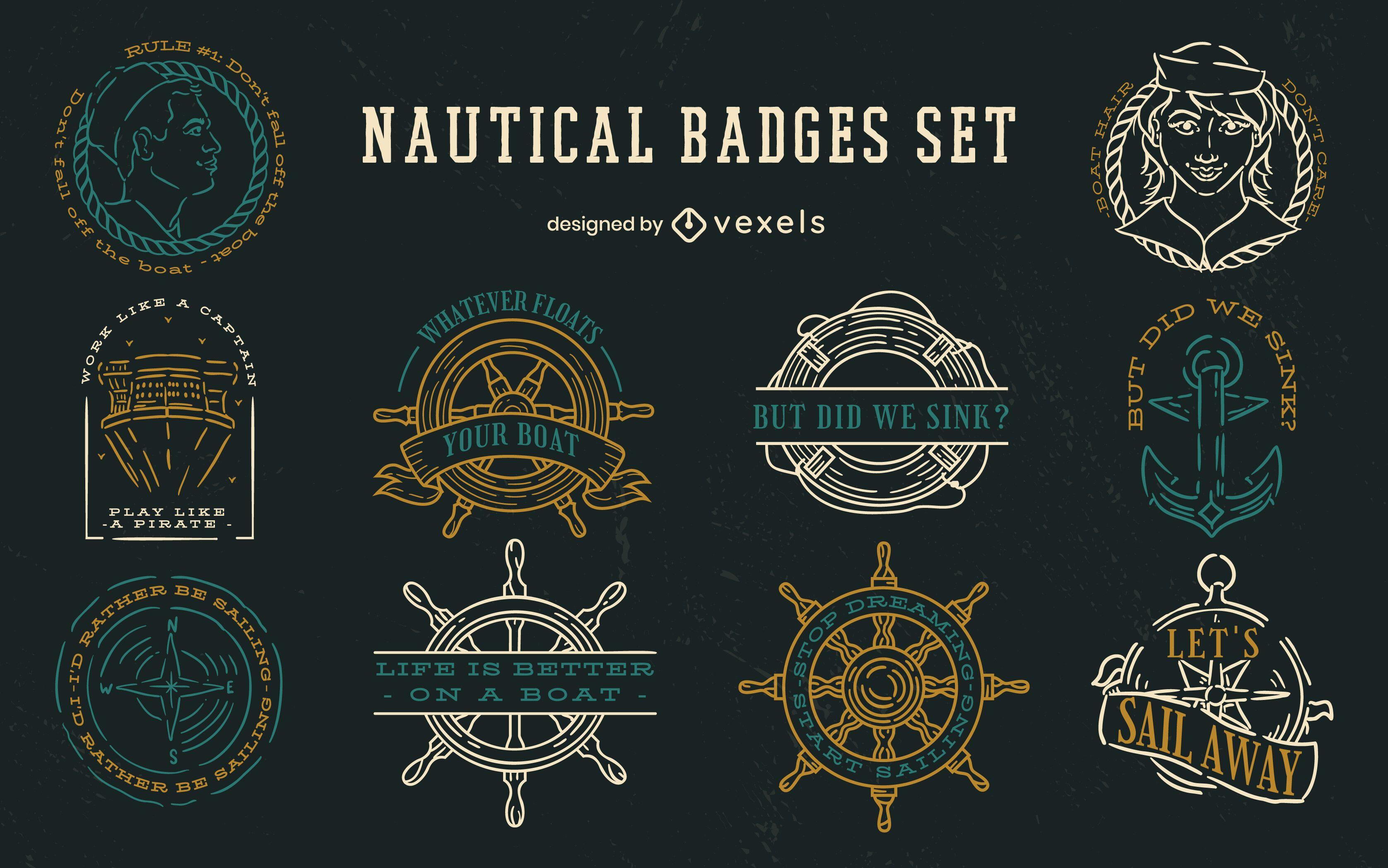 Conjunto de trazos de insignias náuticas
