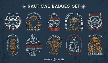 Conjunto de emblemas náuticos de traço