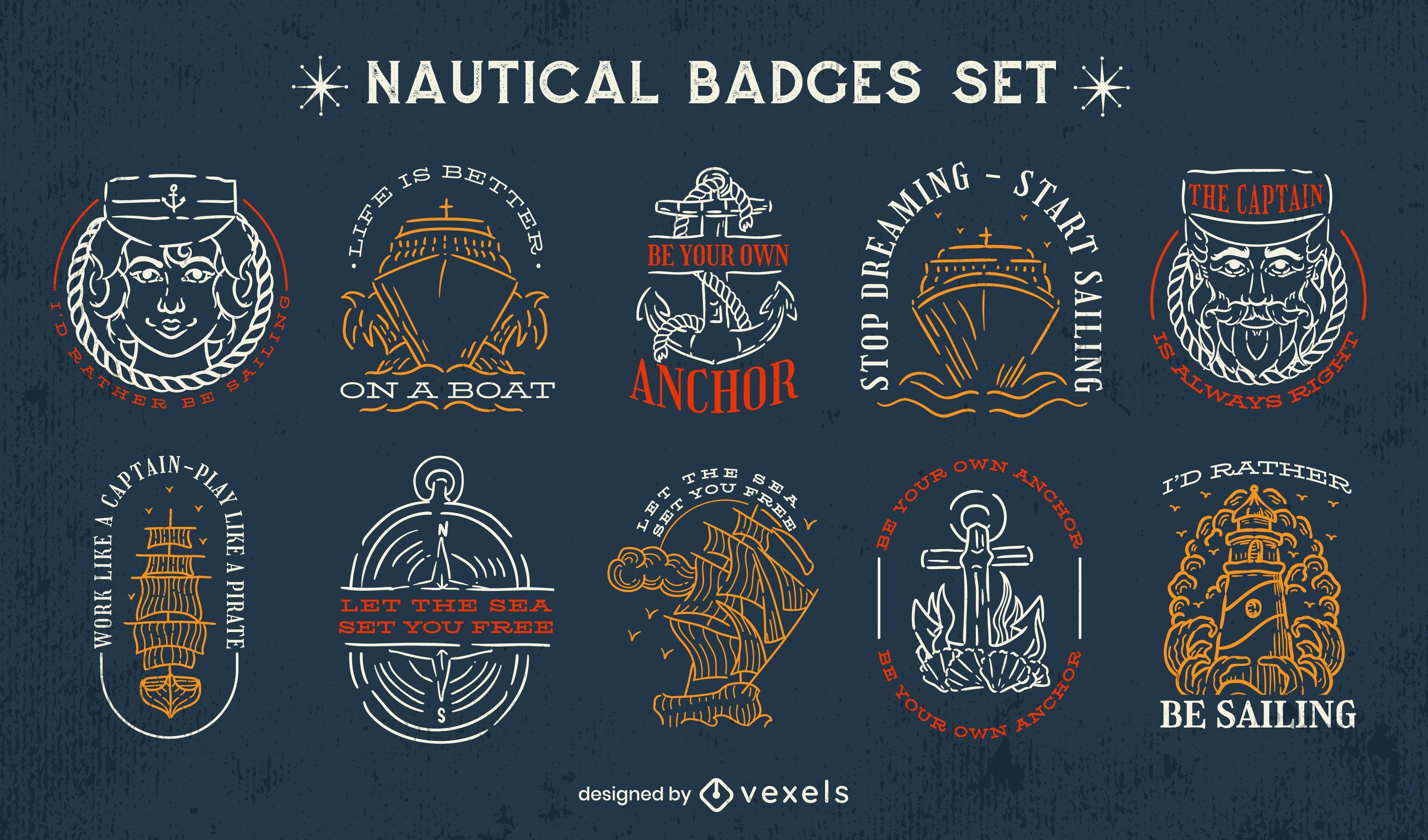 Conjunto de insignias náuticas de trazo.