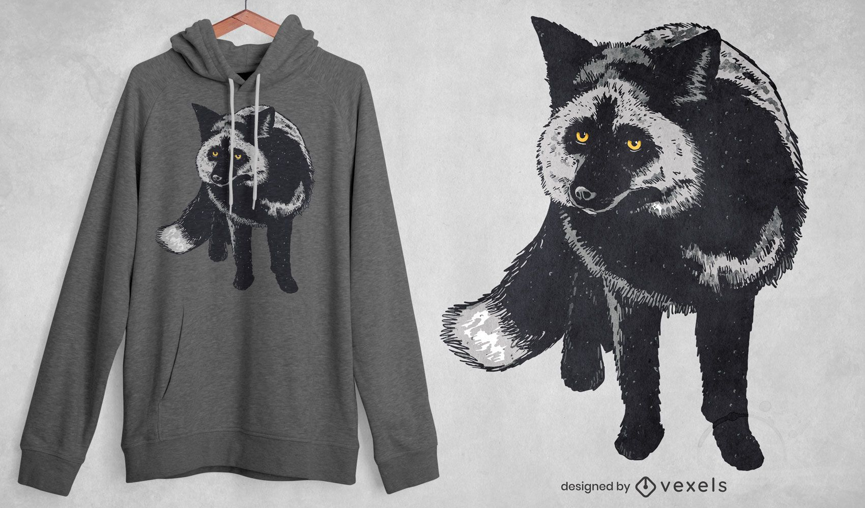 Diseño de camiseta realista de zorro plateado.