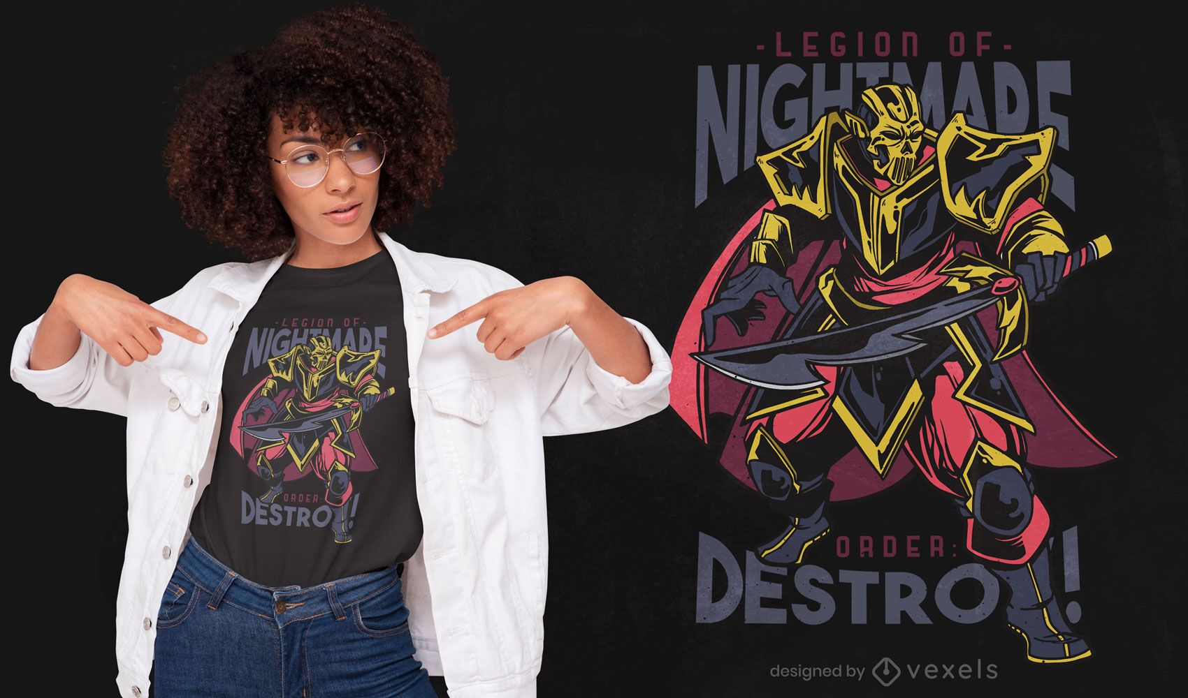 Monster warrior character t-shirt design