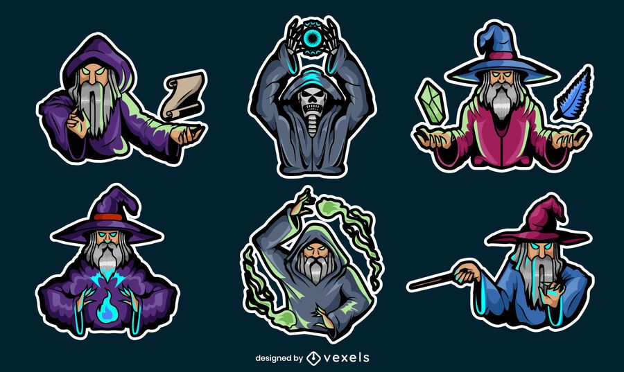 Gaming wizards set of stickers