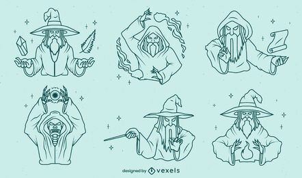 Set of stroke detailed wizards