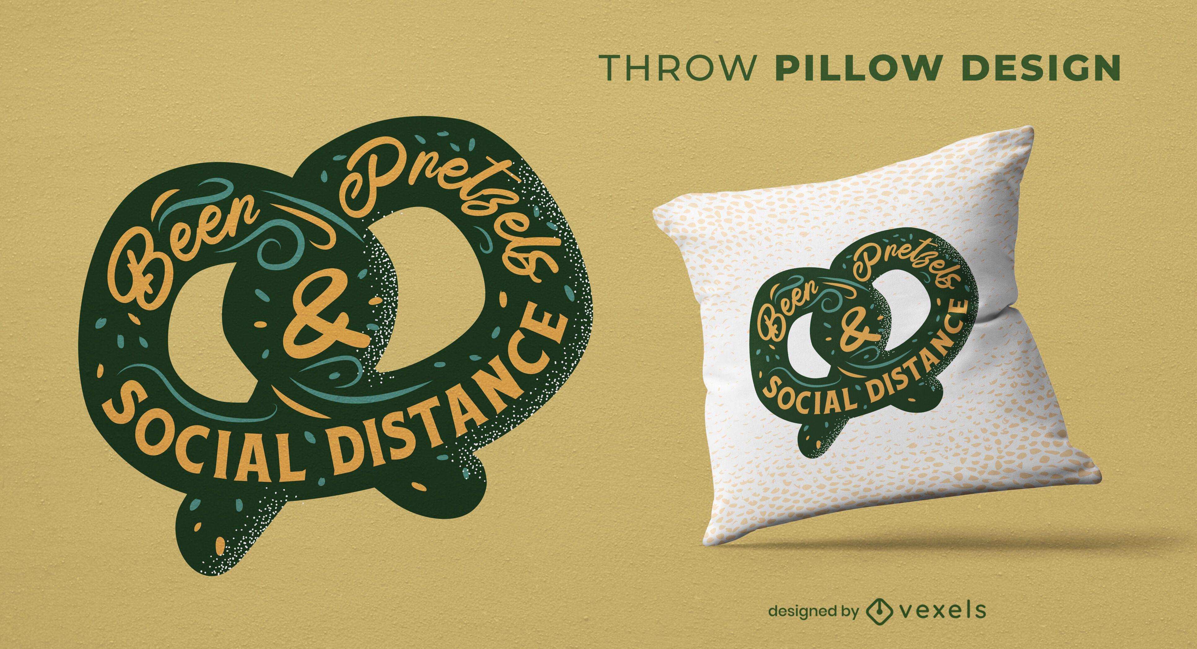 Diseño de almohada de pretzel y cerveza.