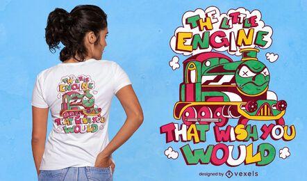 Angry train cartoon t-shirt design