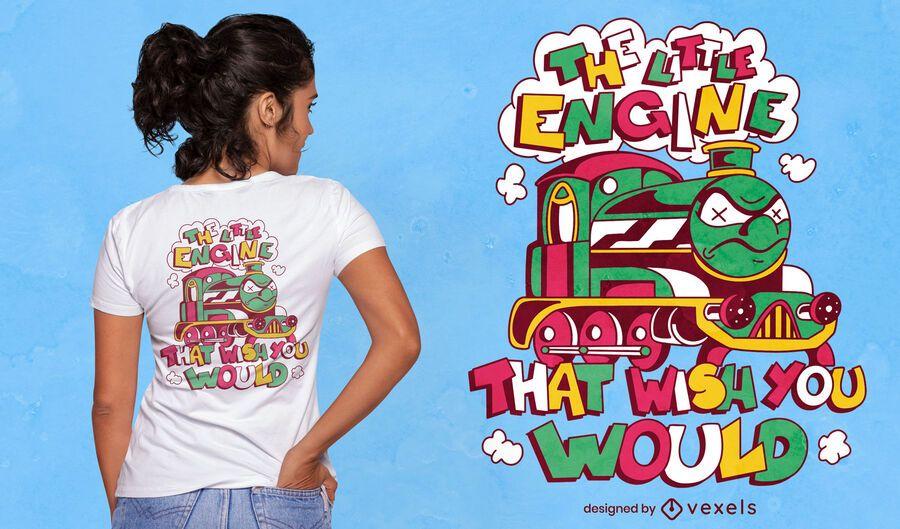 Wütendes Zugkarikatur-T-Shirt-Design