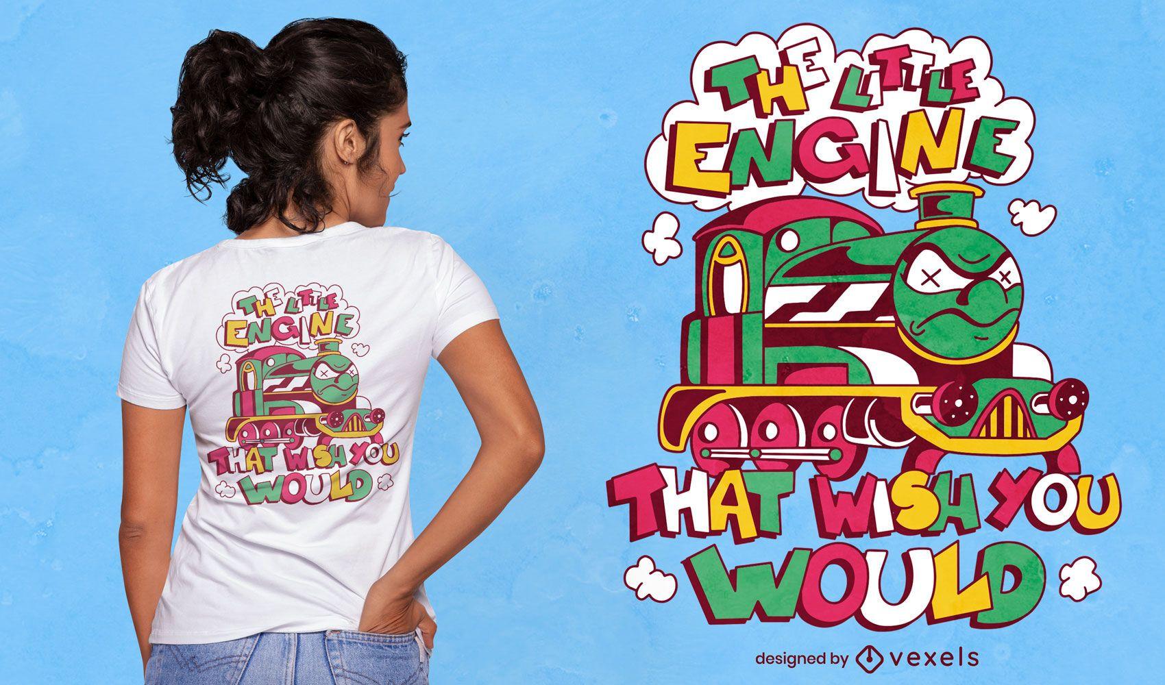 Diseño de camiseta de dibujos animados de tren enojado