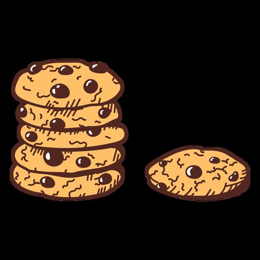Chocolate cookies color stroke