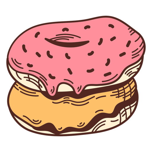 Glazed donuts color stroke