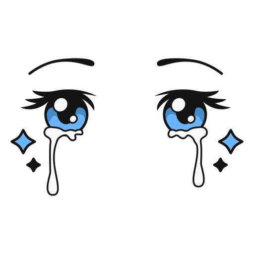 Anime crying eyes color stroke