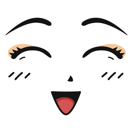 Laughing anime face color stroke