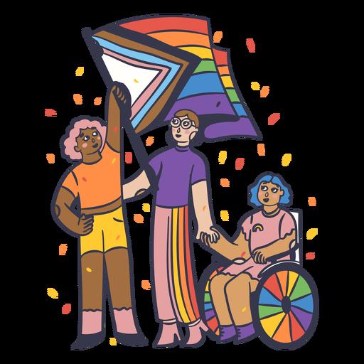 People pride parade color stroke