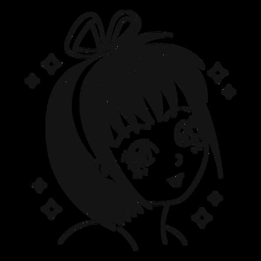 Anime girl filled stroke