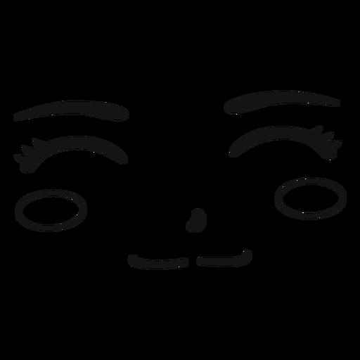 Anime smile face stroke