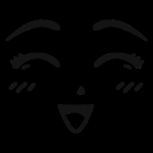 Happy anime face stroke